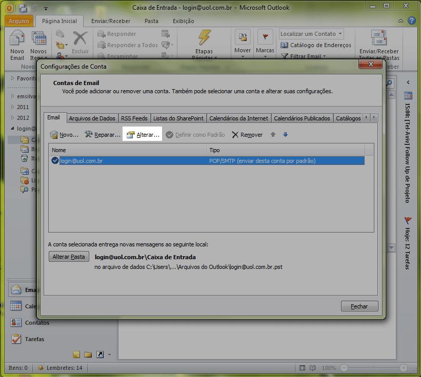 Com o seu e-mail selecionado, clique em 'Alterar...'