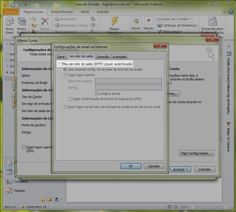 Marque a caixa 'Meu servidor de sa�da (SMTP) requer autentica��o':