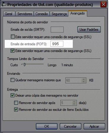 Perceba que 'Servidor de entrada (POP3)', ficou com a porta 995. Mantenha dessa forma. Se estiver apresentando 'Servidor de entrada (IMAP)', deve permanecer com a porta 993: