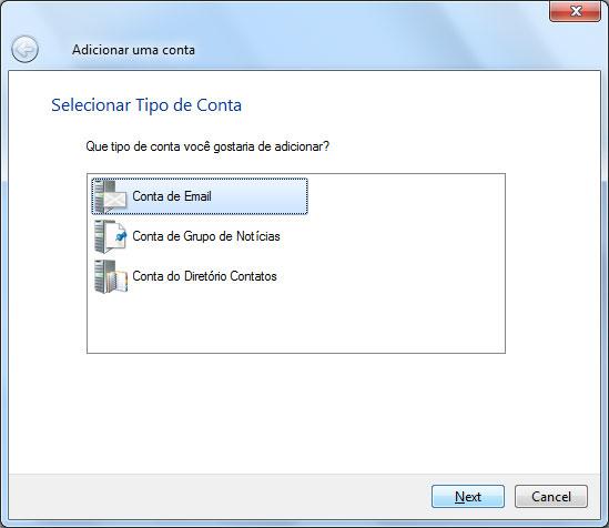 Escolha a opção Conta de Email e depois clique em Próximo