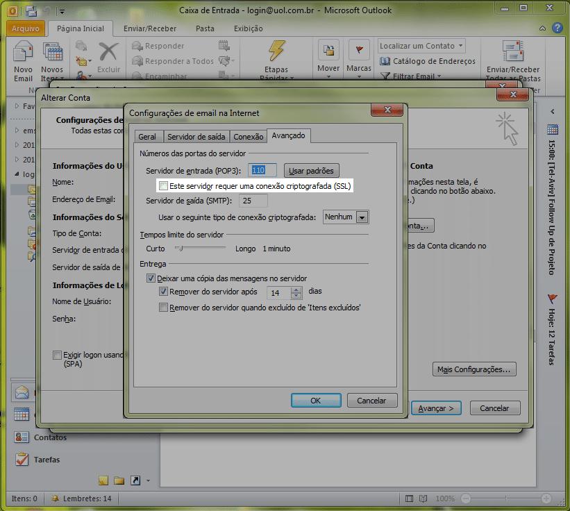 Marque a caixa 'Este servidor requer uma autenticação criptografada (SSL)'