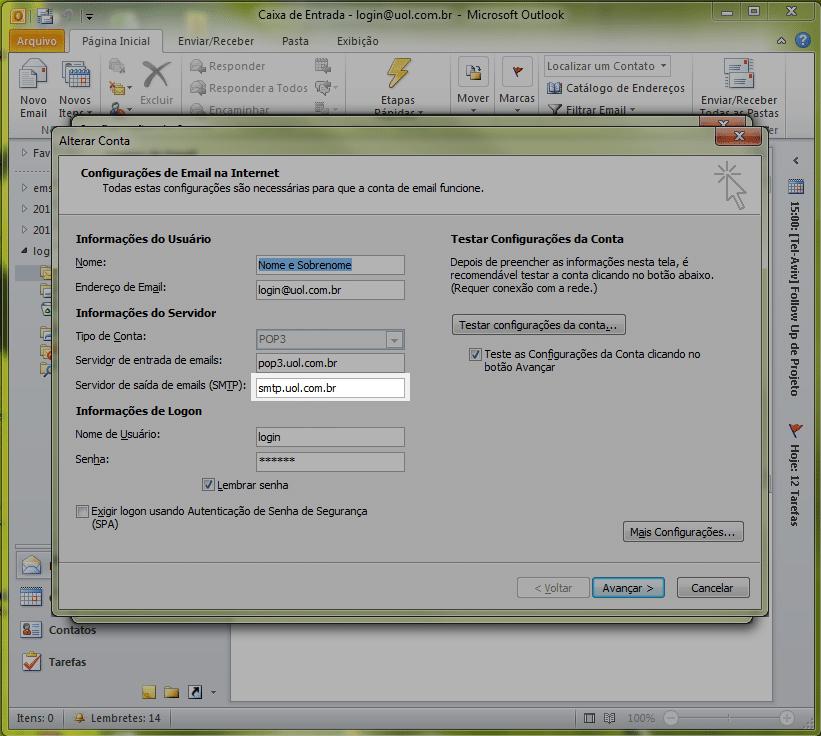 Em 'Servidor de saída de e-mails (SMTP)', altere de smtp.uol.com.br para smtps.uol.com.br, colocando o 's' na frente do smtp.