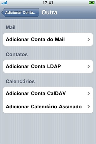 Selecione 'Adicionar Conta do Mail' (Add Mail Account)
