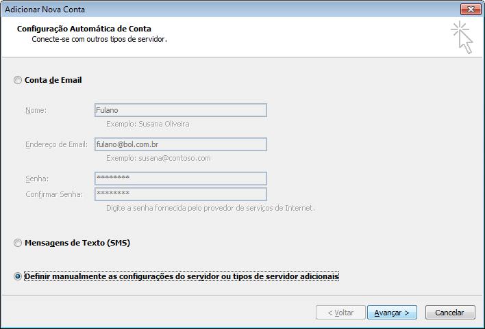 Marque diretamente a opção 'Definir manualmente as configurações do servidor ou tipos de servidor adicionais' e clique em 'Avançar'