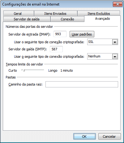 Clique na aba 'Avançado' e preencha as configurações de entrada e saída