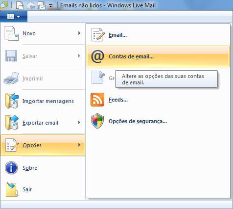 Clique no botão Windows Live Mail, selecione Opções e depois clique em Contas de email...