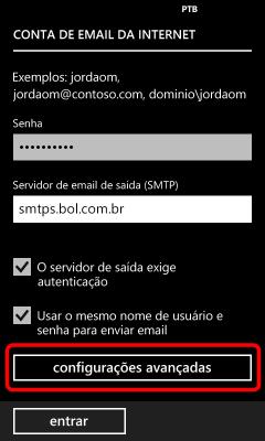 Configuração IMAP e SMTP